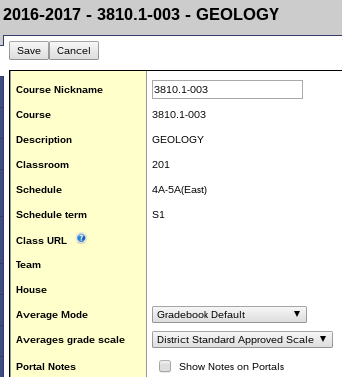 Course Default Grade Scale Settings