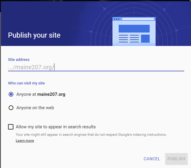 Sites Publish Settings