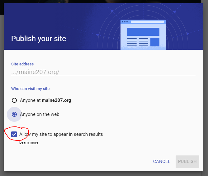 Sites Publish Settings Searchable