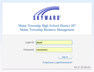 Skyward AD Login Screen