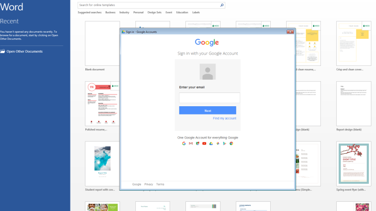 Word - Sign-in to Google
