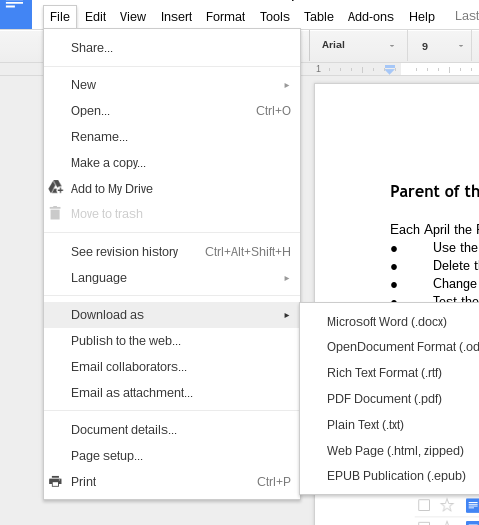 Google Drive - File Download As