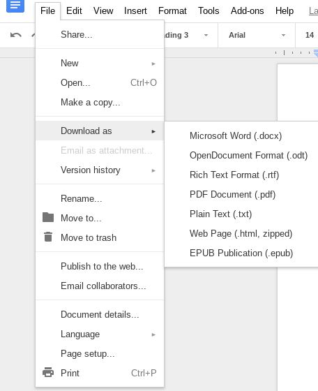 Google Drive File Menu