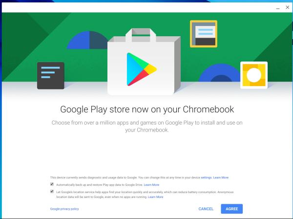 Google Play Initial Setup Dialog